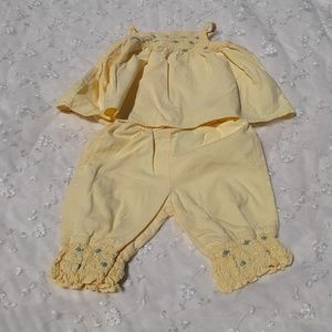 Baby Girl Yellow Smocked Blue Flower Embroidery